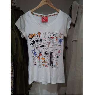 **White colourful animal top Size XS