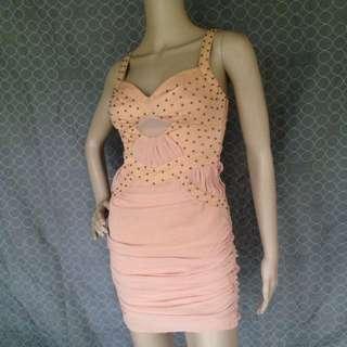 Paradisco Tan Beaded Chiffon Dress