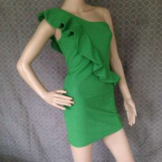 Lovely Girl One Shoulder Green Dress