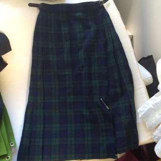 Vintage Tartan Plaid Scottish High Waisted Midi Skirt