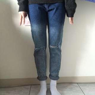 顯瘦漸層刷破牛仔褲
