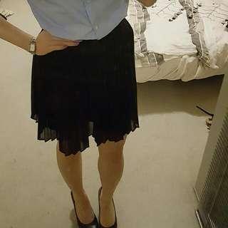 Uniqlo Black Chiffon Pleat Skirt Sz S