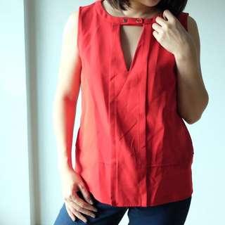 Zara Red Sleeveless Top