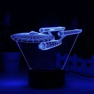 3D LED Lamp NCC-1701 Enterprise - 3D LED Lamp NCC-1701 Enterprise - Theme Light, 8 Light Modes, 7 Colors, AA Battery, USB Port (CVACC-LT368)