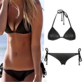 Triangl Black Neoprene Indy Bikini Bathers Triangle Top
