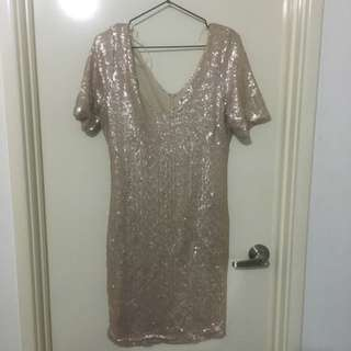 Rose gold dress (boohoo)