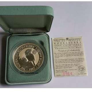 1997 Australian 2oz Silver Kookaburra Specimen Coin - 1937 Threepence Privy