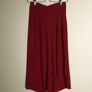 紅色百褶寬褲