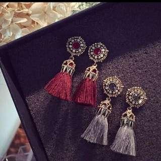 Fashion Vintage Earrings For Women Jewelry Bright Brick Earrings Flower Ancient Long Tassel Drop Earrings Dangle Brincos
