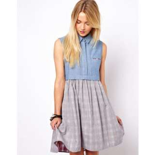 Asos Skater Chambray Dress With Check Underlayer