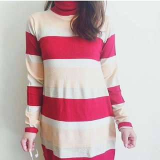 Red Stripes Knit Dress