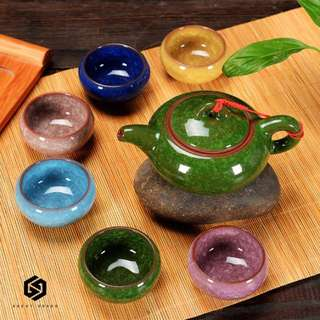 【免運】 陶瓷功夫 組合茶具 套裝 冰裂 釉紋 紫砂 六色 日式 小茶杯 茶壺 #448
