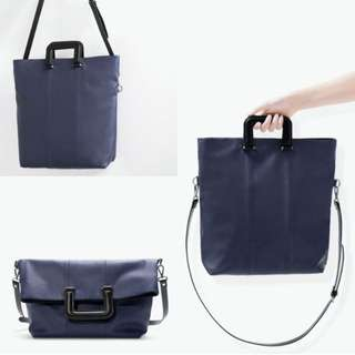 Zara 3 Ways Navy Shopper Bag With Square Handle