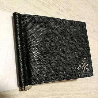 💯 Prada Black Saffiano Leather Wallet Metal Money Clip