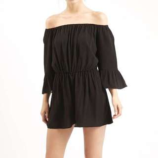 TOPSHOP Black Off Shoulder Playsuit SIZE 4