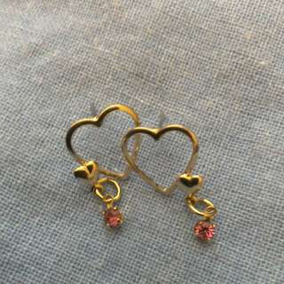 Gold Heart Ear rings 10 K