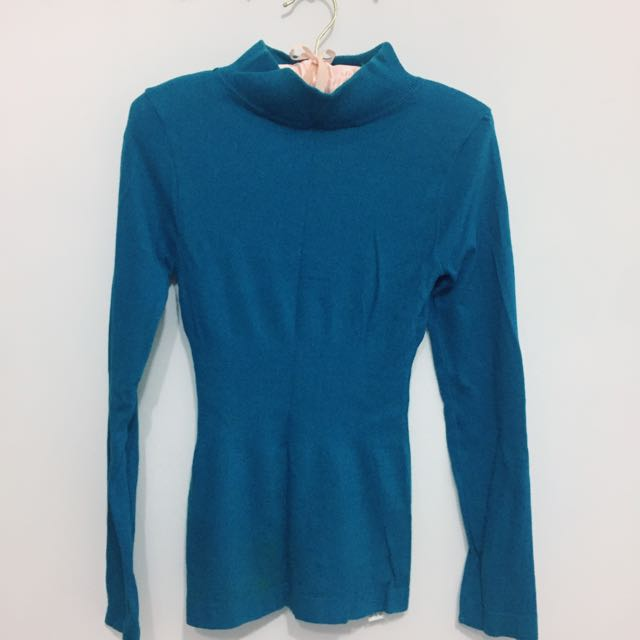 湖水綠針織高領上衣~舒服材質(可換物)