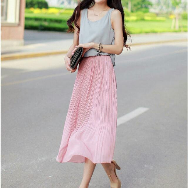 Accordian Pleat Dress - Pink And Grey