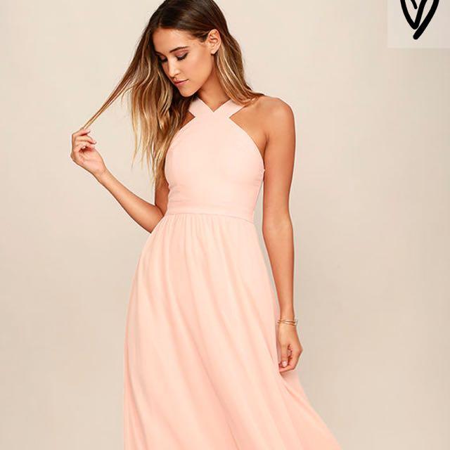 Air of Romance Peach Maxi Dress