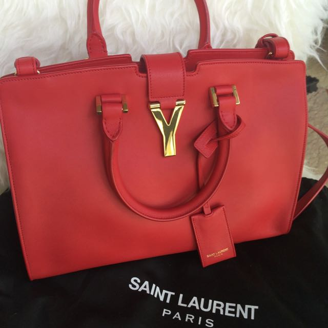 AUTHENTIC Saint Laurent Red Calf Leather Cabas Classic Y Top Handle Bag (size large)