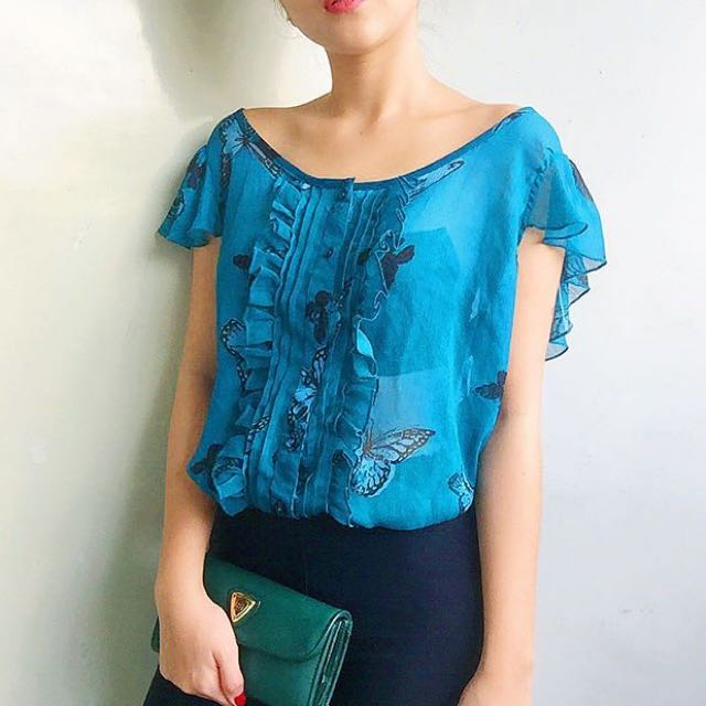 Backless Butterfly Chiffon Blouse