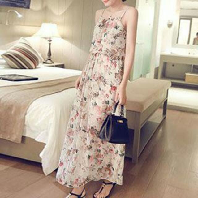Beige Floral Print Spaghetti Strap Chiffon Dress