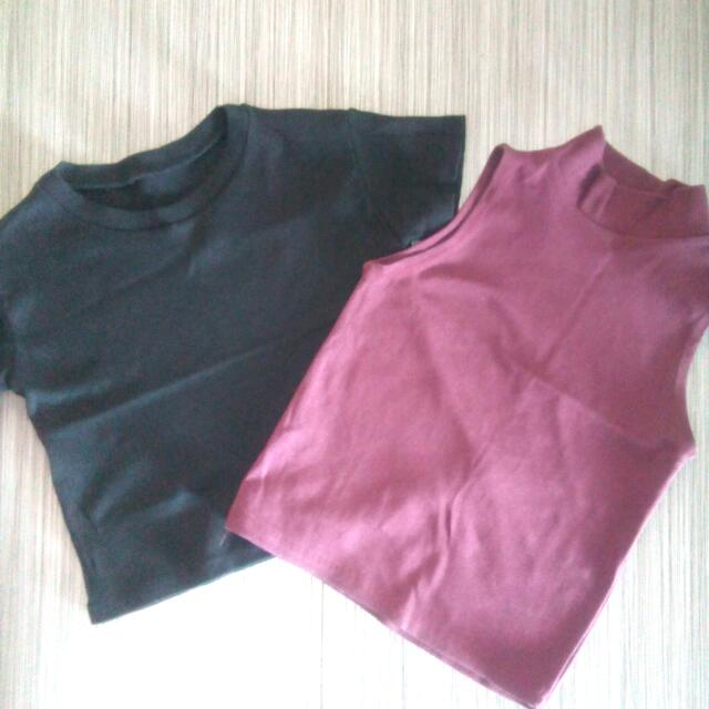 Black cropped top and maroon sleeveless cropped top