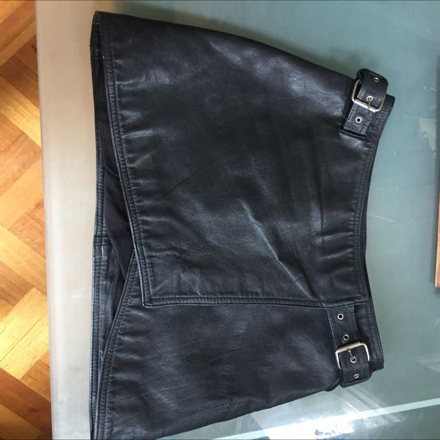 Black Real Leather Skirt