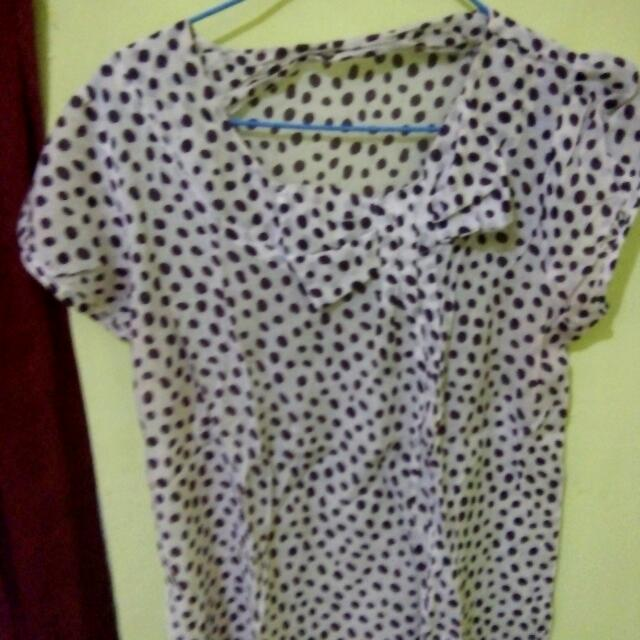 Blouse Polkadot White All Size