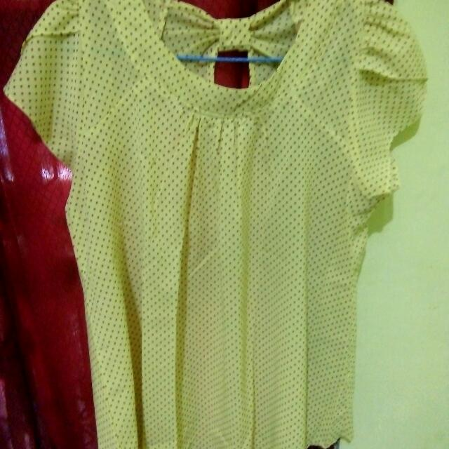 Blouse Yellow Polkadot All Size