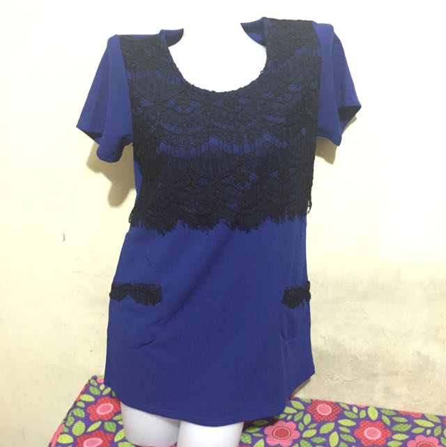 Blue Laced Dress/blouse