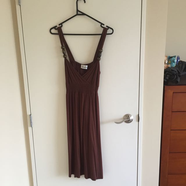 Brown Cross Over Dress
