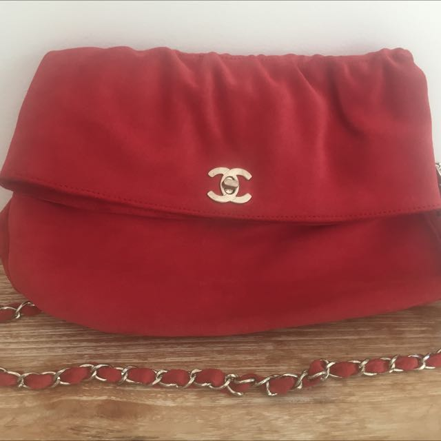 Chanel Inspired Suede Leather Clutch With Detachable Strap