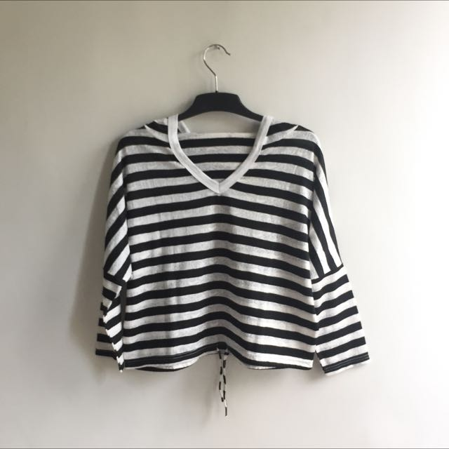 Crop Sweatshirt Garis-garis
