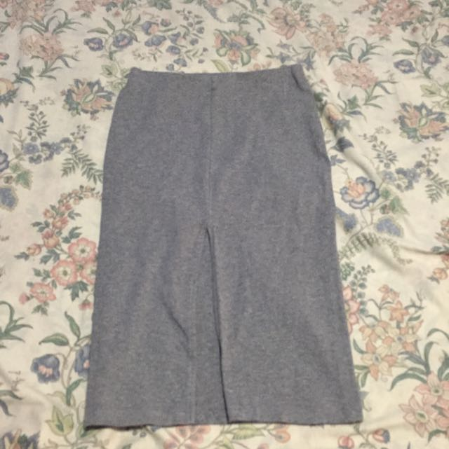 F21 Midi Skirt (gray w/ front slit)