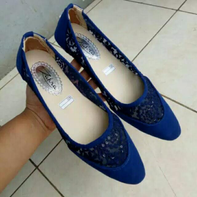 Flatshoes Brukat Biru