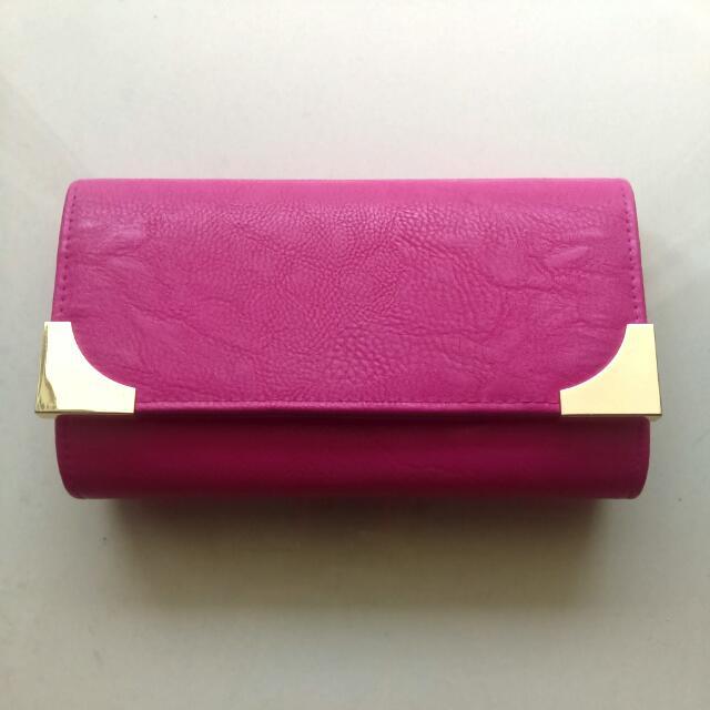 Fushia Pink Clutch With Gold Detailing
