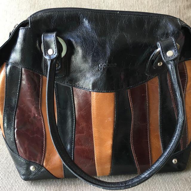 Gabee Brown And Black Leather Handbag