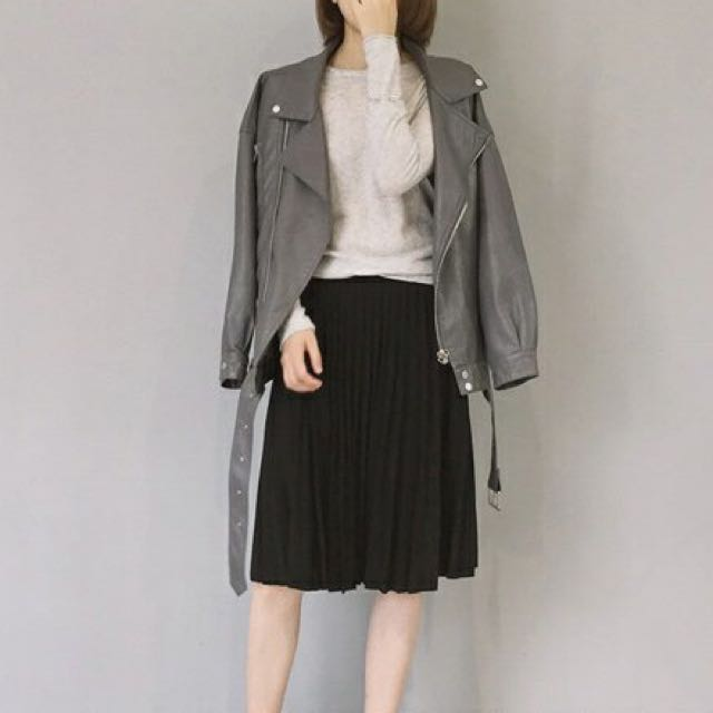 Grey Faux Leather Jacket Instock