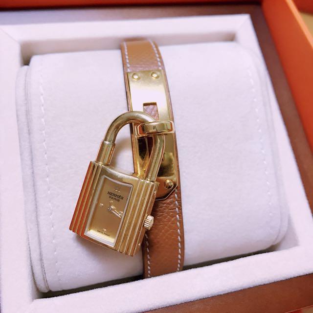 二手Hermes正品Kelly系列經典金色鎖頭荔枝紋牛皮單圈石英女仕錶(金)