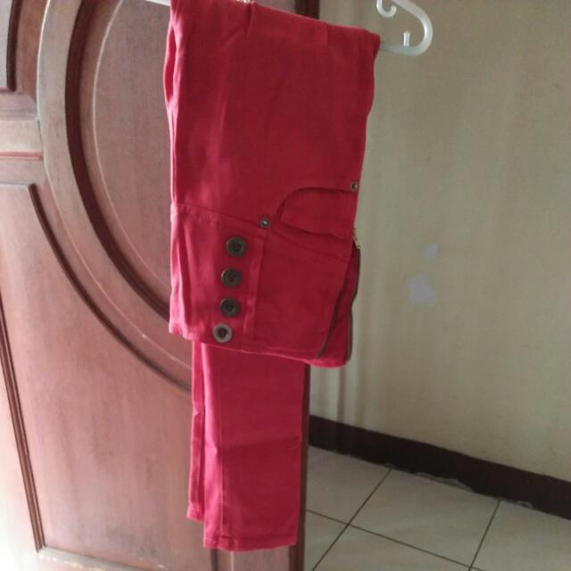 Highwaist Jeans Red Merah Zara Trafaluc