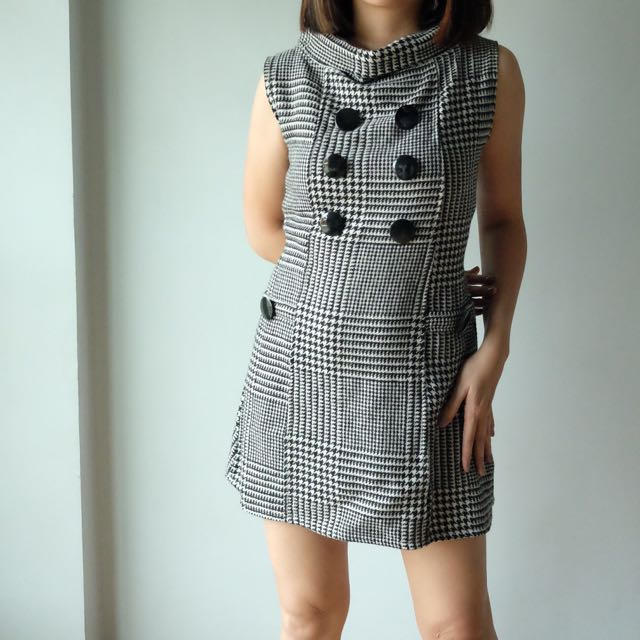 Houndstooth Print Dress