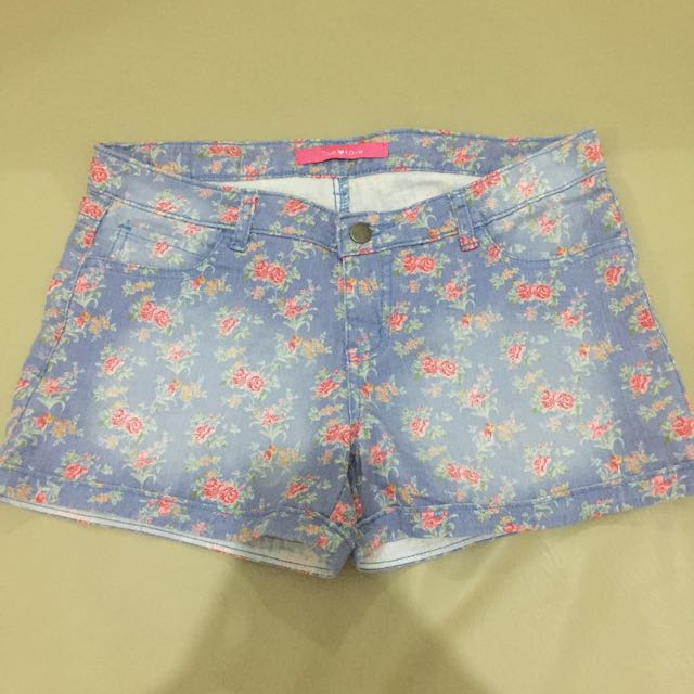 Jellybean Floral Denim Shorts