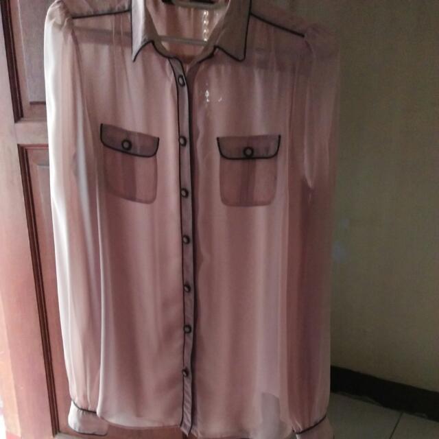 Kemeja Pastel Pink Zara Basic