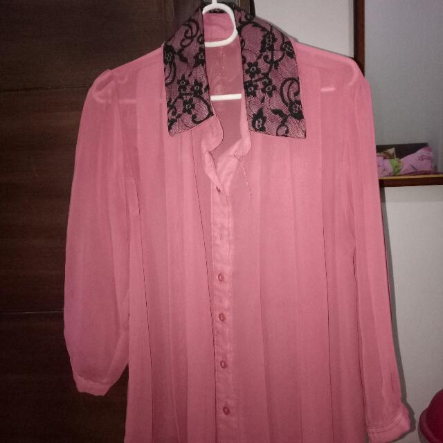 Kemeja Pink (transparant)