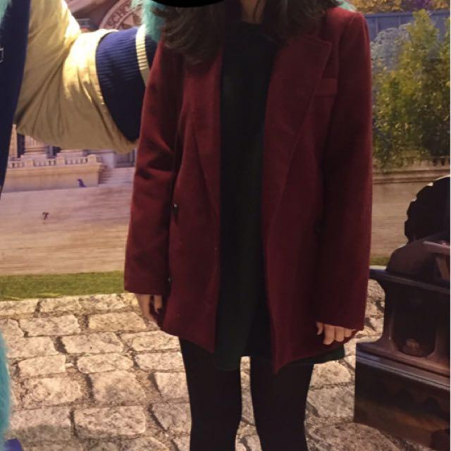 酒紅色毛呢大衣L
