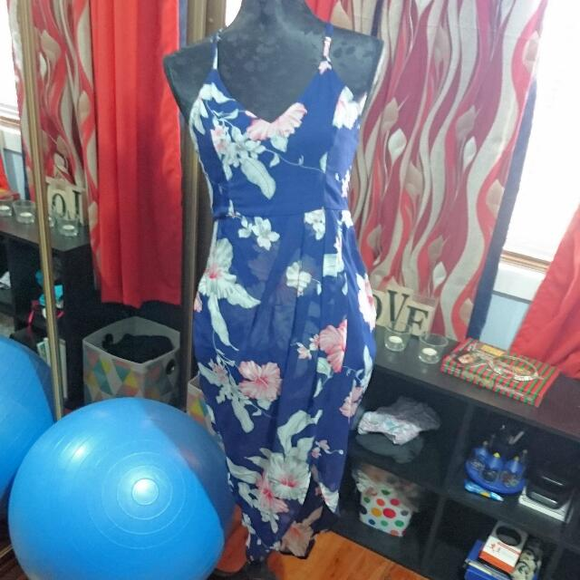 Navy Blue Flowery Dress