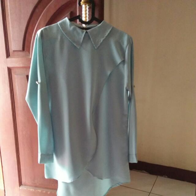 (Nego) Tunik Pastel Mint Hijab Blouse Dress