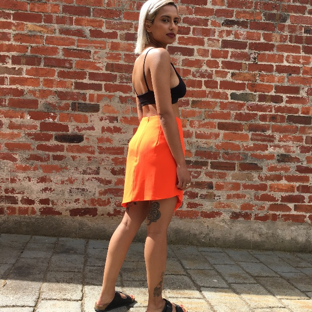 Neon Orange Asymmetrical Skirt