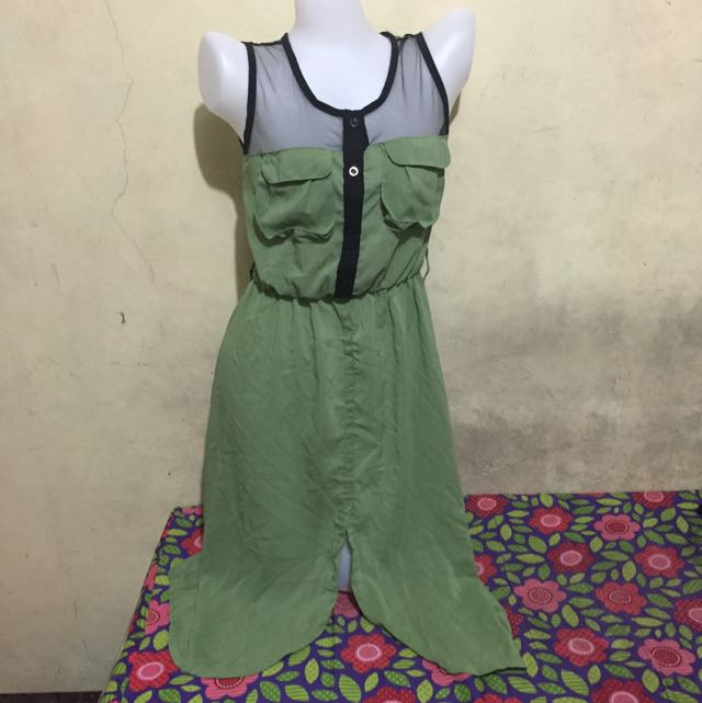 Olive Green Sheer Dress With Net